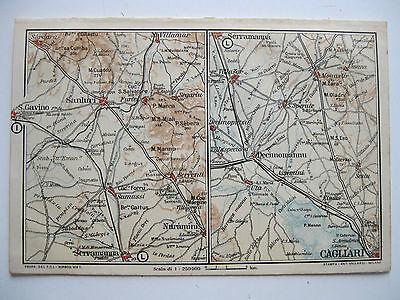 Cartina Sardegna Villamar.Stampa Antica Mappa Serramanna Sanhuri Villamar Sardara Decimomannu Sestu 1919 Ebay