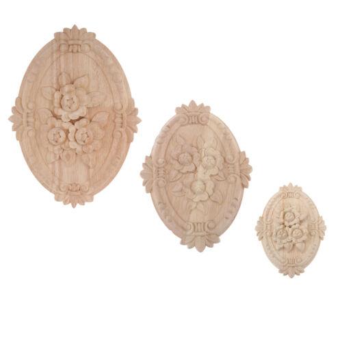 Oval Wood Carved Applique Onlay Furniture Decoration Unpainted Flower Design