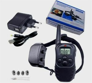 Dressage-dog-collar-remote-300m-rechargeable-waterproof-for-1-dog