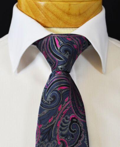 Extra Long Royal Grey and Hot Pink Paisley Men/'s Tie
