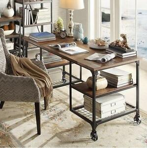 Wheeled Industrial Desk Farmhouse Rustic Modern Home Office