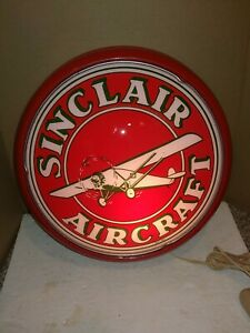 Vintage 80's Sinclair Aircraft Light Lighted Lit Wall Sign,Gasoline,Oil,Aviation