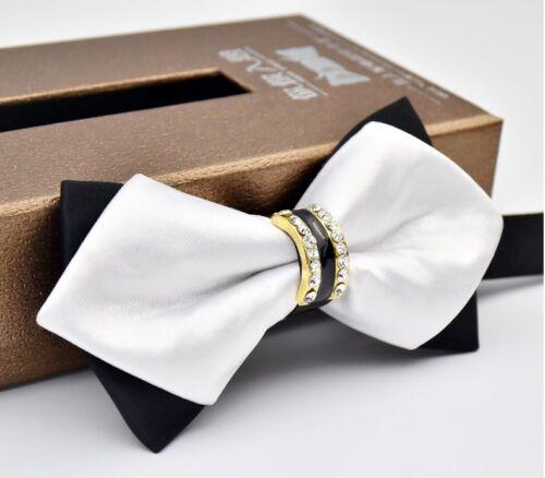 Black White Gold Rhinestone Lattice Sharp Corners Luxury Men/'s Formal Bow Ties