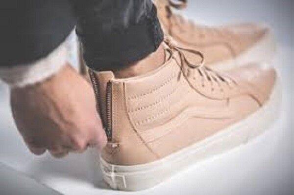 0fc6ca26 VANS Sk8 Hi Reissue Zip Veggie Tan Leather Mens Size 9 Skate Shoes