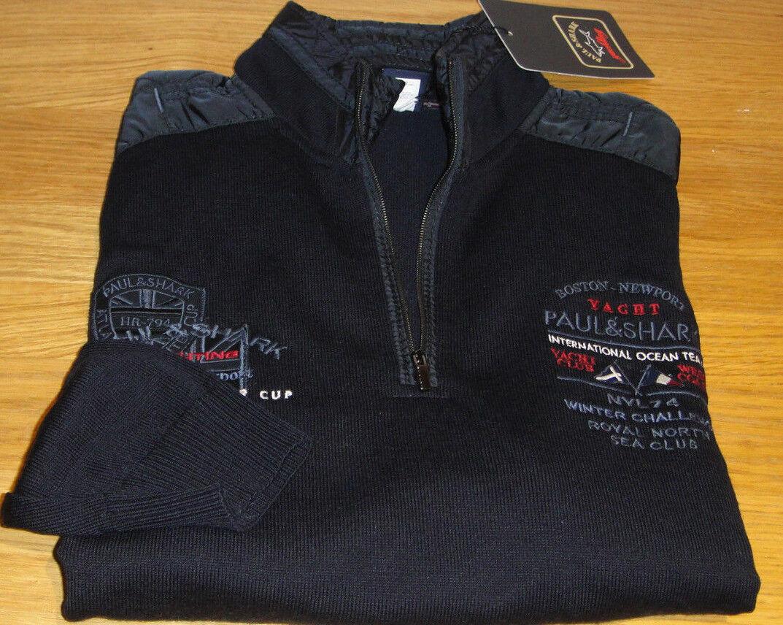 New Paul & Shark Rare Cool Touch knitwear Größe Large Blau 100% Virgin Wool WOW