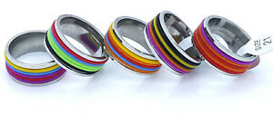 RING-BAND-MULTI-COLOURED-STAINLESS-STEEL-316L-WOMEN-039-S-MEN-039-S-DESIGN-9MM-LARGE