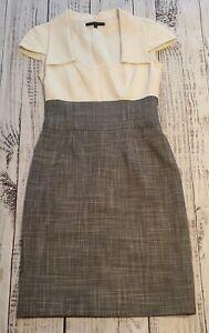 EUC-Antonio-Melani-Gray-Tweed-amp-Cream-Cap-Sleeve-Top-Sheath-Dress-Sz-2