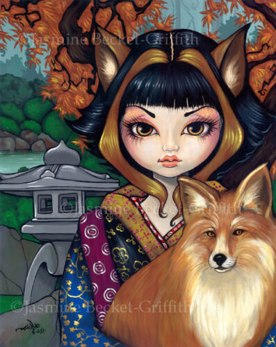 Jasmine Becket-Griffith art print SIGNED Kitsune japanese fox inari shrine tokyo