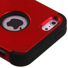 iPhone SE / 5S Red Black Hybrid Armor High Impact Hard & Soft Rubber Case Cover