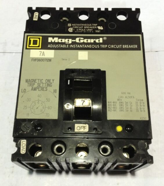 NEW SQUARE D FHP3600712M MAG-GARD CIRCUIT BREAKER 7 AMPS  3 POLE
