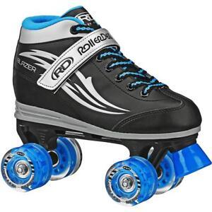 Roller-Derby-Boys-039-Blazer-Quad-Light-up-Wheel-Roller-Skates-Black-Blue