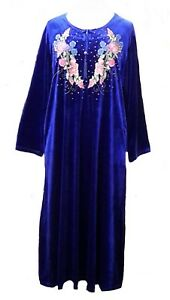 15099-Ladies-039-knitted-Velvet-multi-colour-embroidery-floral-long-kaftan-L