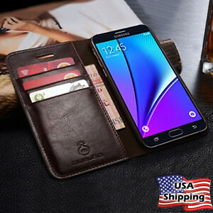 For-Samsung-Galaxy-Note-8-S9-S8-Plus-SLIM-Genuine-Leather-Wallet-Card-Case-Cover
