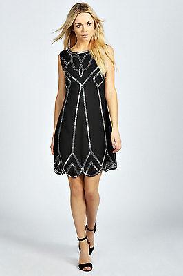 BNWT Ladies BLACK Dress Tunic Top Evening 1920's Shift Dress Size 8 10 12 14
