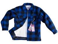 SPORTS AFIELD Men's Brawny Woodsman Heavy Wool Buffalo Plaid Jacket Blue