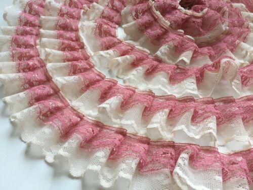 Bande Double gerüschte Tulle Dentelle galon Crème vieux rose 33 mm Shabby mètres linéaires