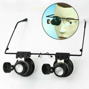 Occhiali-Monocolo-Doppio-Lente-d-039-Ingrandimento-Orologiaio-20X-con-Luce-LED