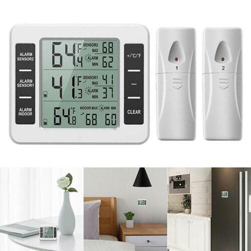 Wireless Digital Thermometer Indoor Refrigerator Freezer Audible Alarm 2 Sensor