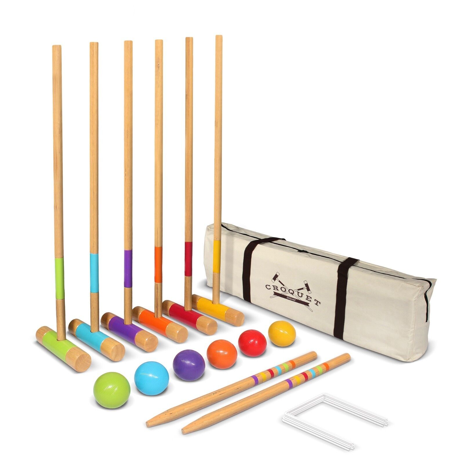 Portable  Standard Wooden Lawn Croquet Set - 27  Mallets for Kids and Adults  up to 60% discount
