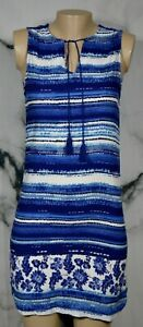 BEACH-LUNCH-LOUNGE-COLLECTION-Blue-White-Patterned-Sleeveless-Dress-XS-Unlined