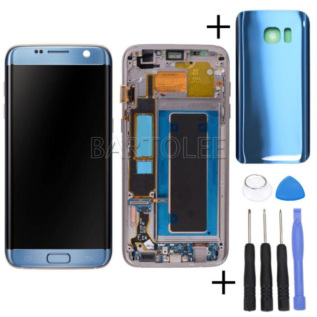 Für Samsung Galaxy S7 Edge SM-G935F LCD Display Touch Screen +Rahmen Coral Blue