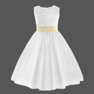Details About Vestido Blanco De Princesa Fiesta Ceremonia Boda Floreado Bautizo Para Niña 2 12