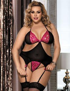 8aa33a44c67 Women s Sexy Plus Size Black Pink Cutout Basque Lingerie 10 12 14 16 ...