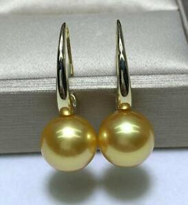 AAAA 8-9mm real natural south sea GOLD round Pearl Earrings 18K Yellow GOLD