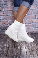 Damen Sneaker Keilabsatz Wedges Damenschuhe Stiefeletten Schwarz Weiß 36-41