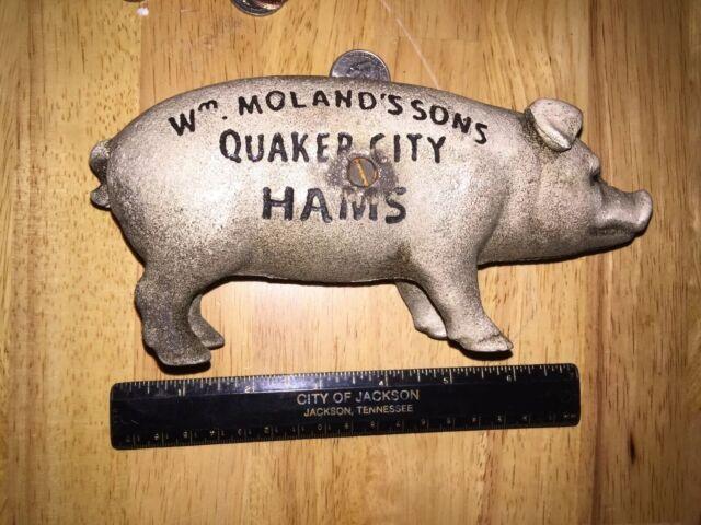 Wm Moland /& Sons Piggy Bank Solid Cast Iron Metal 2+Lbs Patina Vg//Ex