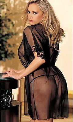 Plus Size! Women's Sexy Lingerie Lace Sheer Coat Sleepwear Underwear + G-string