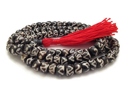 "Tibetan Yak Bone ""Om"" Mantra 108 Beads Full Mala for Meditation and Yoga"