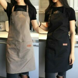 Women-Cooking-Kitchen-Restaurant-Cafe-Uniforms-Canvas-Apron-Dress-with-Pocket