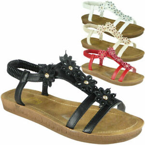 Womens Ladies Sandals Elastic Strap Comfy Flat Summer Peeptoe Shoes UK Sizes