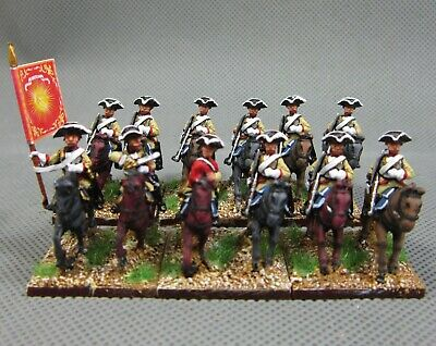 12 figures FB10 15mm Seven Years War WGS painted French Dragoons in Tricorne