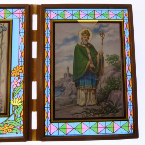 Patrick image 18cm gift Stained glass double frame with An Irish Blessing /& St