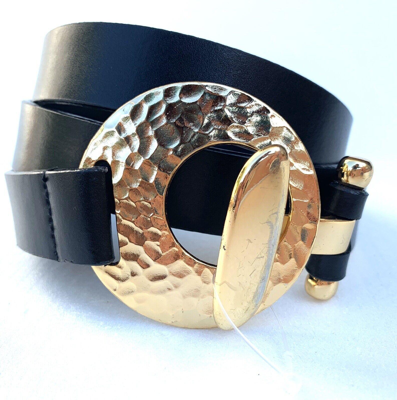 CHICO'S Women's Adjustable Black Belt W/ Gold Tone Medallion Buckle SZ M-L
