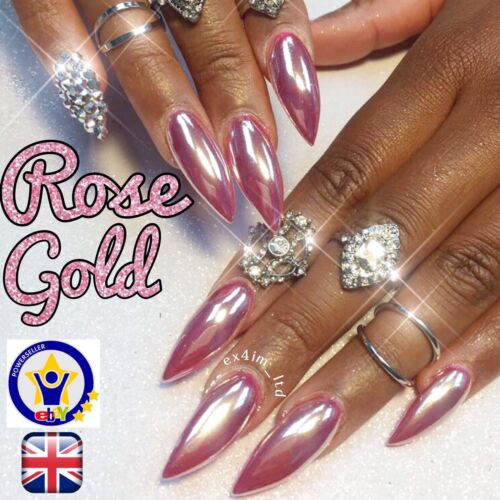 How To Use Chrome Nail Powder Without Gel: ROSE GOLD CHROME POWDER MIRROR NAILS NO WIPE TOP COAT PINK