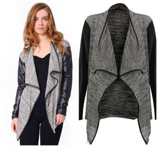 Ladies Long Sleeve Waterfall Open Womens Crop Blazer Jacket Coat All Sizes