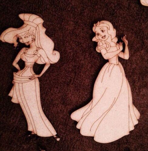 En bois 10 Princesse Découpe Laser 3 mm MDF 100 mm Embellisment CRAFT Forme vide