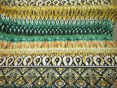 BY THE YARD  LYCRA 4W STRETCH IMPERIAL GOLD BORDERS PRINT