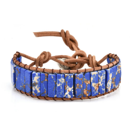 Jasper Chakra Bracelet Handmade Stone Tube Beads Leather Wrap Bracelet Colorful