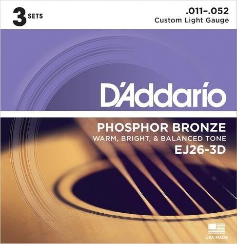 Custom Light 3 Sets D/'Addario Phosphor Bronze Acoustic Guitar Strings 11-52