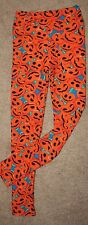 LuLaRoe PUMPKIN Smiling Mad Face Blue Jack O Halloween Leggings OS *GETby10/31*