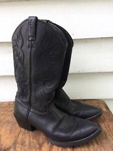 b02bb25d673 Details about Men's JUSTIN BOOTS Black Leather Cowboy Boots Size 9.5 D