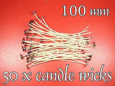 50 xCANDLE Cotton WICKS 10cm PRE WAXED with Paper Core, Candele, Stoppini