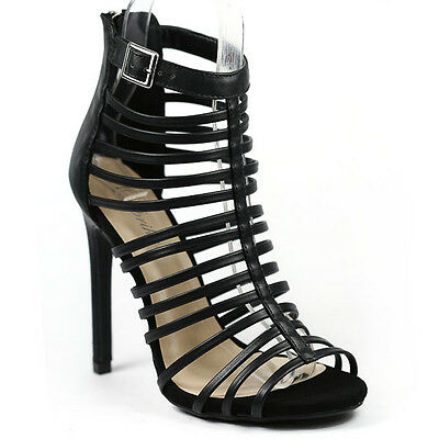 Black Faux Leather Open Toe Strappy Caged Evening Dress High Heel Sandal Paprika