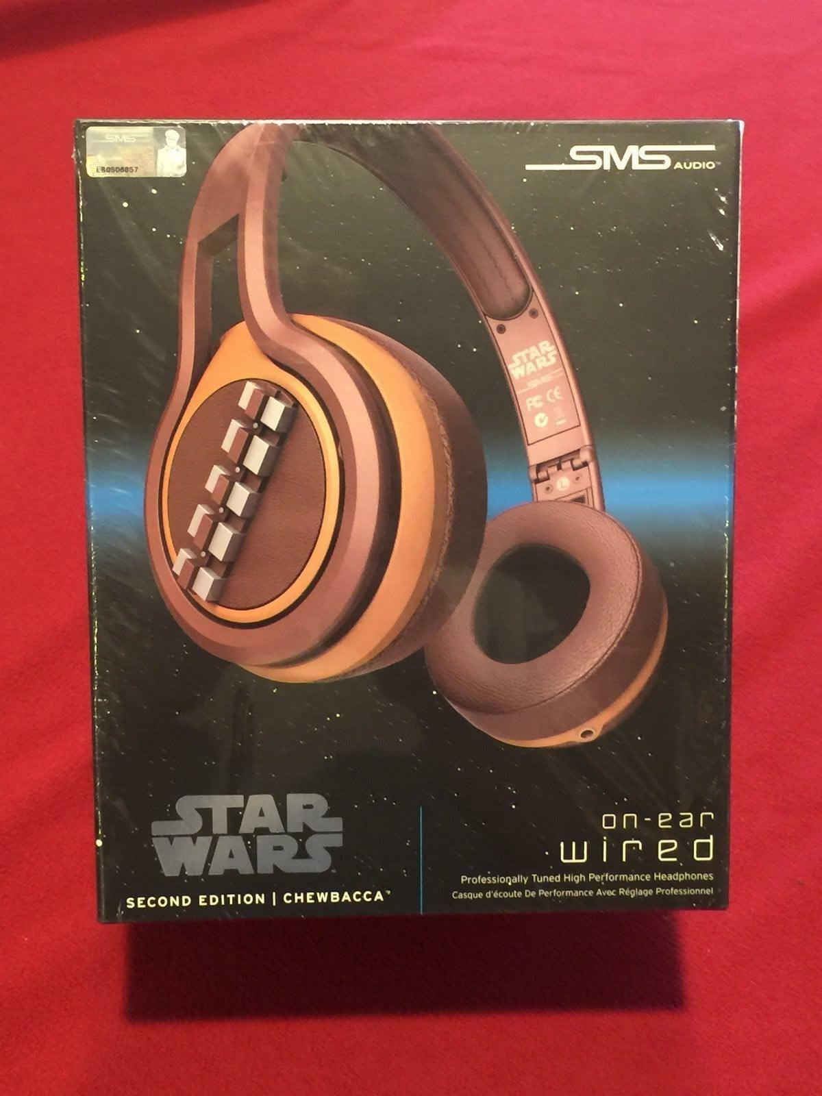 Star Wars Second Edition Chewbacca On Ear Wired Headphones SMS Audio NEW MIB