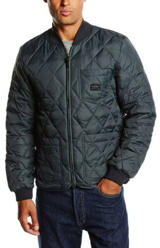 L M Lee Men/'s Jacket Quilted Down Bomber Faded Black S