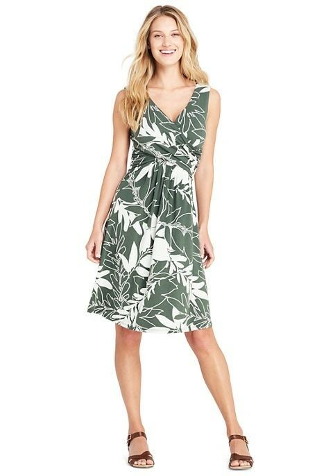 Lands End Women's Sleeveless Fit and Flare Dress Dark Balsam Leaf Print New